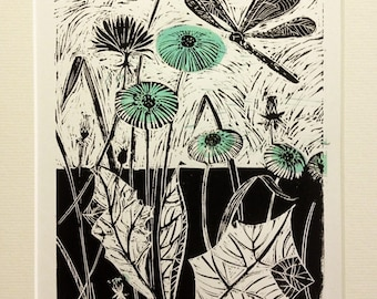 Dragonfly hand printed, limited edition. lino print.