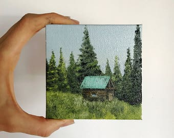 Painting of a Cabin in the Woods; Landscape Artwork; Wall Decoration; Small, Affordable Art