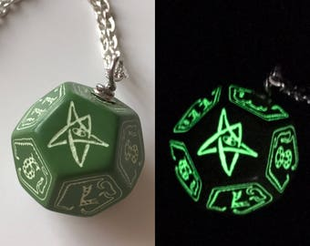 Glowing dice etsy call of cthulhu necklace d12 dice necklace dungeons and dragons dice jewelry elder sign geek geekery aloadofball Choice Image