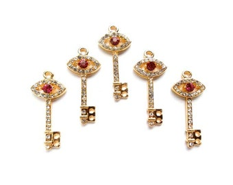 5 Gold Plated Key Charms With Rhinestones - 21-46-5