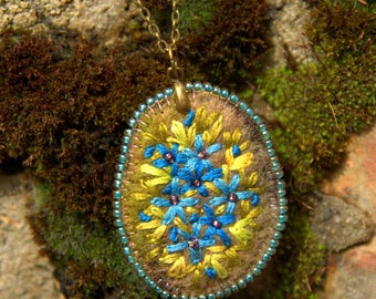 Bronze chain necklace and pendant in shades of blue-green embroidered wool felt