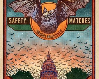 """Austin Bats Matchbox Art- 5"""" x 7"""" matted signed print"""