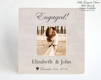 Engagement Gift to Couple Personalized Engagement Picture Frame Bridal Shower Gift Ideas Newly Engaged Custom Photo Frame Wedding Gifts