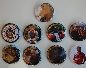 Magnum PI Button Set Tom Selleck Higgins Island Hoppers Lot of 9 Buttons Pins