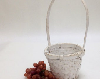 Vintage easter basket gifts etsy small white easter basket flower girl wedding basket decor victorian farmhouse country gift basket 55 negle Gallery