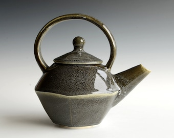 Handthrown teapot with black glaze