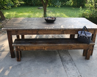 8-Foot Dark Walnut Stained & Distressed Primitive FARMHOUSE Country CABIN Kitchen Table W/Two Matching Benches Custom Sizes Colors