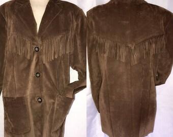Vintage Western Fringe Suede Leather Coat. Brown Fringe Suede Coat. 70s Leather Fringe Coat.