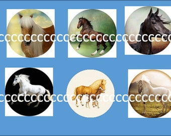 10 glass cabochons 20 mm horse theme