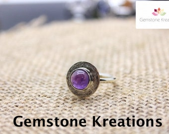 Amethyst Ring, 925 Sterling Silver Ring, 18K gold plated Ring, Stacker Rings, Birthstone Rings, Midi Rings