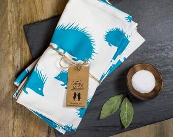 Cloth Napkins - Set of 4 - Teal Hedgehog - GOTS Certified - Organic Dinner Napkins - Table Napkins - Everyday Napkins - Hedgehogs
