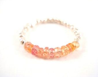Padparadscha Sapphire Ring, Genuine Sapphire Ring, Stackable Gemstone Ring Orange Yellow Peach Pink Sapphire Ring, Thin Beaded Stacking Ring