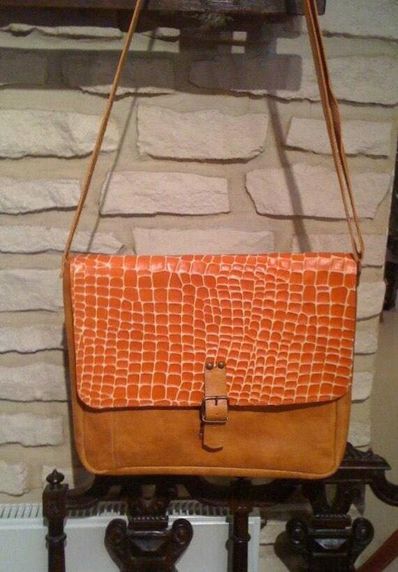 Orange Croco Laptop Bag, Full Grain Leather Messenger Bag, Office Bag, Shoulder Bag, Student's Bag, School Bag