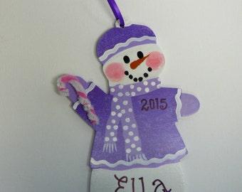 Purple  Snow Girl Ornament Personalized