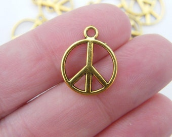 10 Peace sign charms antique gold tone GC434