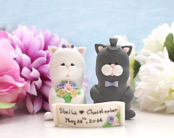 Unique Cat wedding cake toppers - bride groom figurines black and white pink purple yellow pastel colors names initial dog pet white ivory