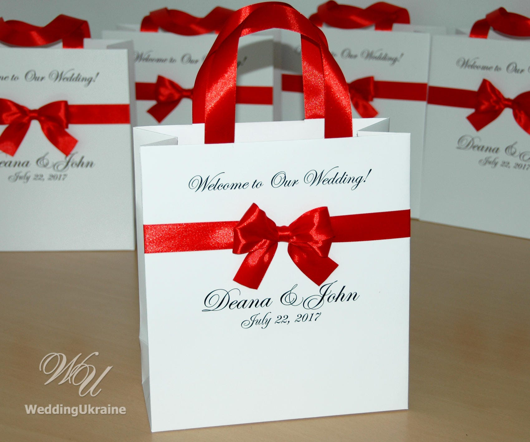 30 Elegant Wedding welcome Bags for guests with satin ribbon