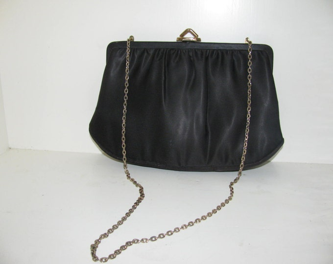 MARDANE Vintage Black and Gold Chain and Clasp with interior swinging Mirror Handbag Clutch and Purse