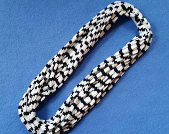 Black and White Stripes Recycled T-shirt Infinity Scarf Necklace - upcycled tshirt scarf tarn tshirt yarn, striped scarf, ecofashion