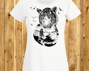 Tiger Head T-Shirt, Mountain Cat Shirt, Big Cat Lover, Gifts For Her, Siberian Tiger Art, Valley Scene Animal, Nature Lover Tshirt, Girl Tee