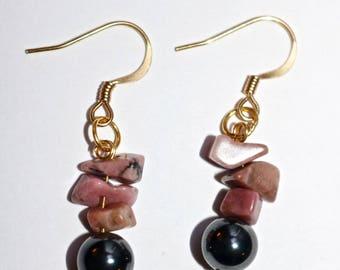Stone Dangle Earrings, BC Nephrite Jade, BC Rhodonite, Hematite, Jade Earrings