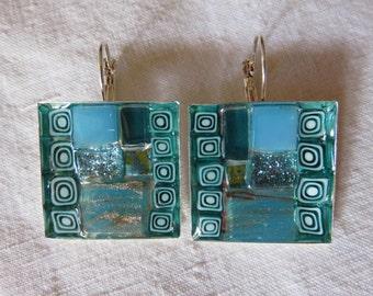 sleeper earrings mosaic and Millefiori