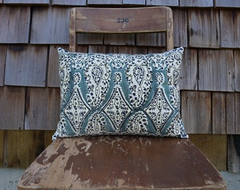 Small Lumbar Pillow made from Beautiful and Intricate Block Printed Textile from India 12x16 - Kalia