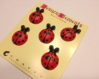 5 large ladybug buttons, 20 x 25 mm (B11)