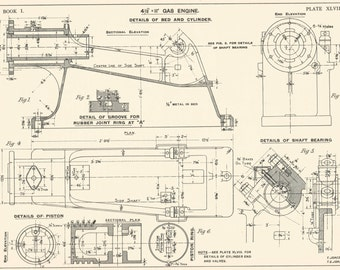 Locomotive piston machine drawring 1930s vintage industrial machine drawring gas engine 1930s vintage industrial print engineering drawrings blueprint art plan gift home malvernweather Image collections