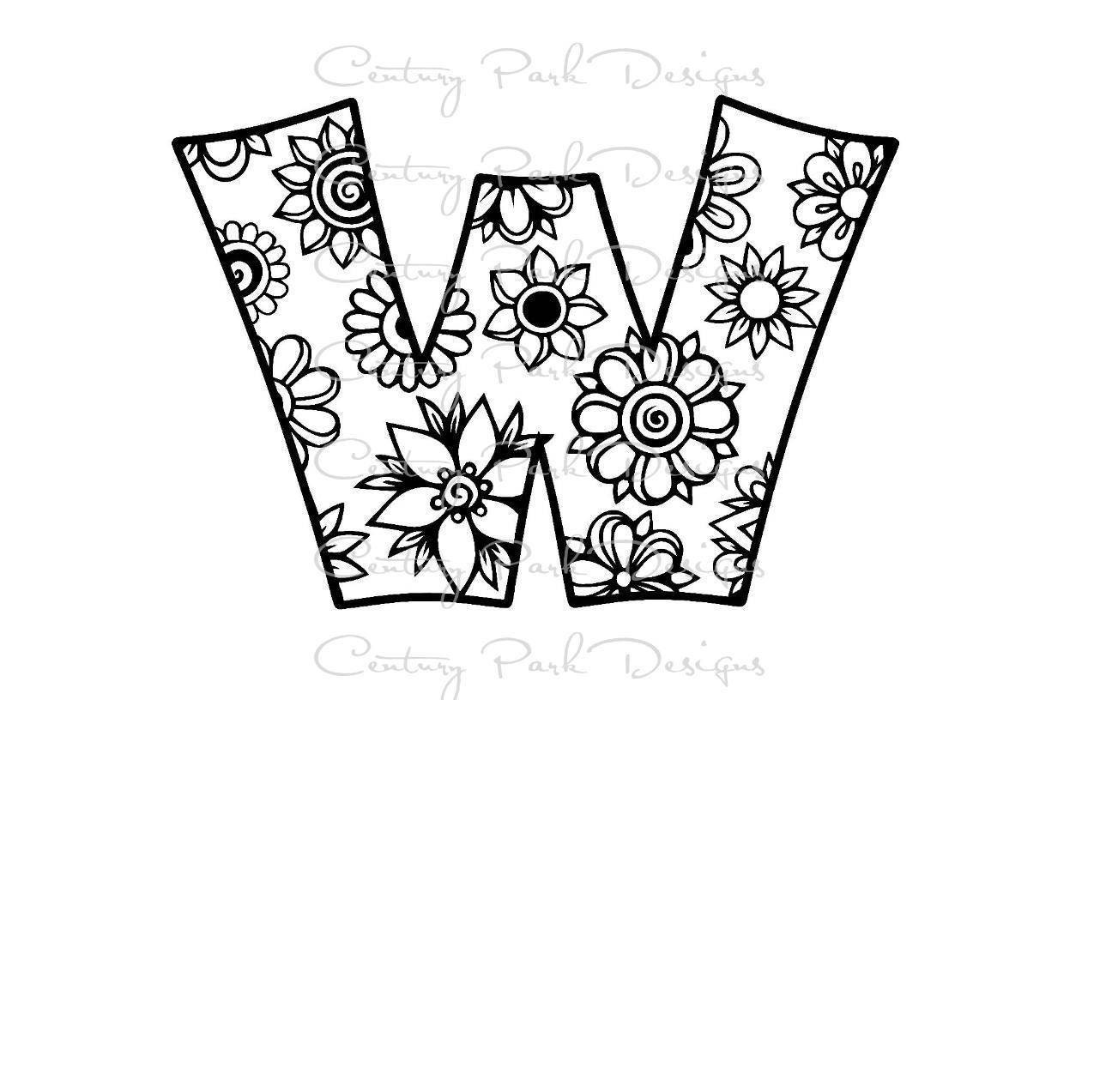 Letra W alfabeto flores SVG / JPEG / PNG /pdf uso con estudio