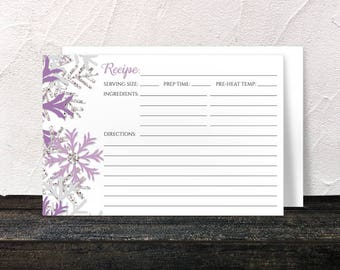 Winter Recipe Cards - Purple Silver Snowflake design on White - 4x6 Printed Recipe Cards