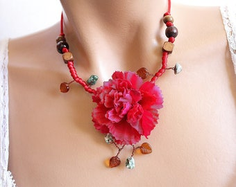 Red necklace branch floral beads.