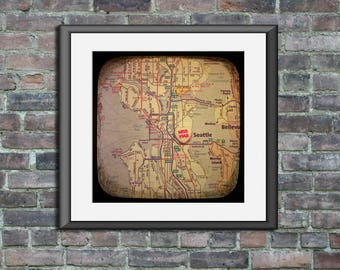 Map art print miss you seattle candy heart unframed photo print custom going away graduation gift dorm wall decor housewarming
