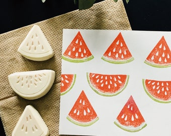 Watermelon hand carved rubber stamp,watermelon rubber stamp,watermelon stamp,watermelon print,linocut,fruit stamp,Unmounted,set of 3.