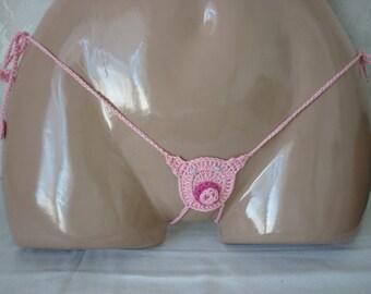 Pig Thong, erotic lingerie, Piggy thong, g-string crochet, Crochet Piggy Bikini, g-string erotic, sexy thong, Piggy sexy g-string