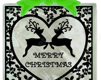 Holly Heart Frame suitable for Glass Blocks, cards and frames.  SVG, DXF & FCM included