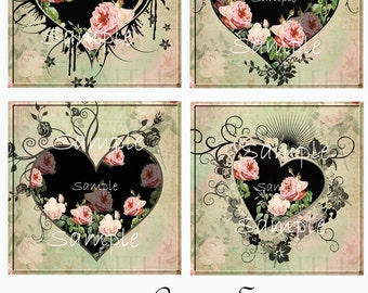 Instant Download - One Of A Kind - Gorgeous Coasters  No. 20 - 4 x 4  Digital Download - Printable  Digital Collage Sheet