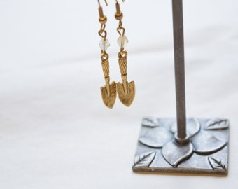 Tiny Gold tone Garden Shovel Earrings