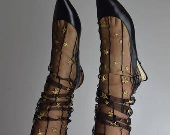Starry Gold Tulle Socks