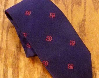 """vtg 60s 70s Frame Navy Blue Red Maple Leaf Canada Silk Tie Necktie 57"""" 3.25"""""""