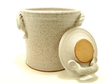 fermentation & pickling crock . ceramic pottery jar for sauerkraut or kimchi in chalk white