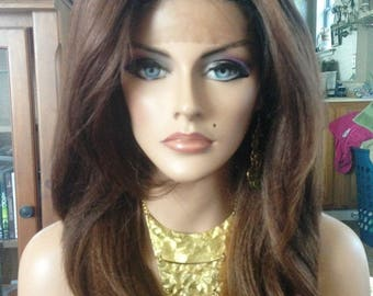 Free Shipping - French Lace Front Wig - 100% Human Blend - Ombre Chocolate Brown - Layered - Straight Styled