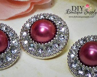 5 Pcs BURGANDY Rhinestone Pearl Buttons Plastic Acrylic Pearl Rhinestone Buttons Embellishments Clear Rhinestone Flower Centers  25mm 762035