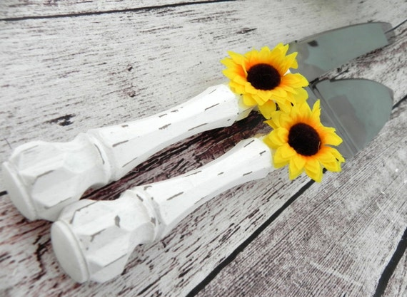 Shabby Chic Wedding Cake Server And Knife Set, White with Yellow Sunflower, Bridal Shower Gift, Wedding Gift