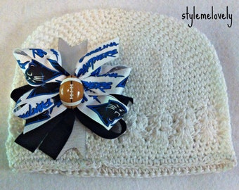 Carolina Panthers Baby Girl Boutique Bow Crocheted Hat