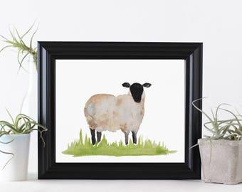 Watercolor Sheep Printable / Printable Wall Decor / Sheep Printable / Nursery Printable / Wool Decor / Printable Art