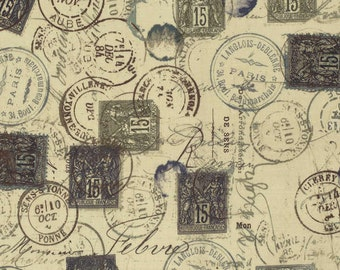 Neutral Correspondence Fabric Yardage. Eclectic Elements by Tim Holtz for Coats and Clark. Cotton Quilt Fabric. Postage Stamp Fabric Yardage