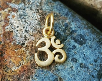 ON SALE TODAY Tiny Gold Om Charm - Very Small - Gold Om Necklace - 24K Vermeil - Optional Custom Length Gold Filled Chain - Yoga Jewelry
