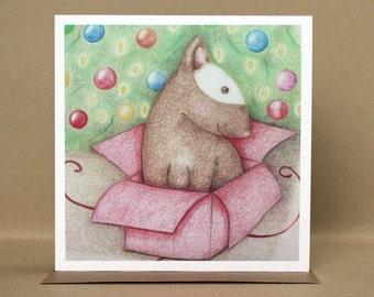 Boxing Day Bull Terrier - Christmas Card