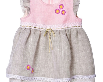 Linen Dress for Girls.  Flower Girl Dress. Girls Linen Dress. Flower Girl Dress. Toddler Girl Dresses